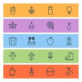 Gardening Icons Set With Floral, Milk Can, Onion And Other Garden Clothes Elements. Isolated Vector  poster