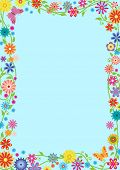 Rectangular Framework With Fancy Flowers And Butterflies. Template For Preschool, School Diploma, Ce poster
