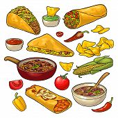 Mexican Traditional Food Set With Guacamole, Quesadilla, Enchilada, Burrito, Tacos, Nachos, Chili Co poster