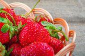 Strawberries. Ripe Juicy Strawberries In Wicker Basket. Natural Source Vitamins. Large Juicy Strawbe poster