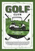 Golf Club Champion League Retro Poster With Car And Crossed Golf Clubs On Lawn. Club-and-ball Sport  poster