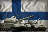 Tanks On The Finland Flag Background. Finland Tank Forces Concept. 3d Illustration poster