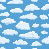 Clouds Seamless Pattern On Blue Sky Background Cloudy Bright Vector Cloudscape. Nature Air Weather F poster