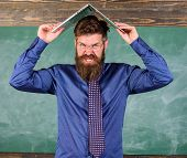 Teacher Bearded Man With Modern Laptop Chalkboard Background. School Blows His Mind. Can Not Get Use poster