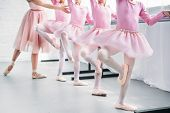 Cropped Shot Of Kids In Pink Tutu Skirts Practicing Ballet With Teacher In Ballet School poster