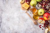 Honey, Apple And Pomegranate For Rosh Hashana, Jewish New Year. Selective Focus poster