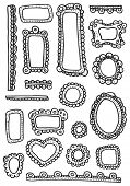 Curly frames and ornaments doodles - design elements set in vector
