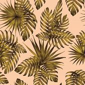 Palm Monstera Seamless Pattern. Yellow Tropical Summer Background. Beach Jungle Leaves For Swimwear  poster