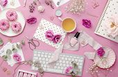 Feminine, Styled Photo With Pink Flowers, Tea And Accessories. Flatlay. For Bloggers And Creative Bu poster