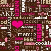 Постер, плакат: Бесшовные типографии пищи напиток кухня фоновый узор в векторе