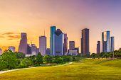 Houston, Texas, USA skyline and park at dusk. poster