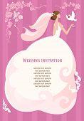 Постер, плакат: Невеста с голубем на розовом фоне