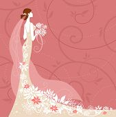 Bride on pink background