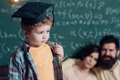 Child And Childhood. Little Child In Graduation Cap. Child In Classroom. A Child Can Ask Questions T poster