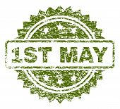 1st May Stamp Seal Watermark With Rubber Print Style. Green Vector Rubber Print Of 1st May Title Wit poster