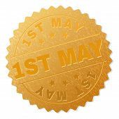 1st May Gold Stamp Seal. Vector Golden Medal Of 1st May Text. Text Labels Are Placed Between Paralle poster