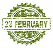 23 February Stamp Seal Watermark With Scratched Style. Green Vector Rubber Print Of 23 February Titl poster