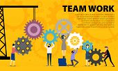 Business Teamwork Concept. Illustration Of Business People On Cog Wheel Showing Team Work. Business  poster