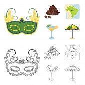 Brazil, Country, Mask, Carnival . Brazil Country Set Collection Icons In Cartoon, Outline Style Vect poster