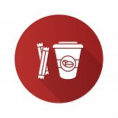 Coffee To Go With Sugar Sachets Flat Design Long Shadow Glyph Icon. Disposable Coffee Cup With Lid.  poster