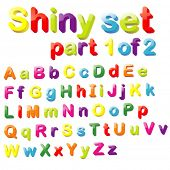 Vector Shiny Magnets Set (Part 1 of 2) - Alphabet in Small & Capital Letters