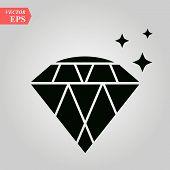 Diamond Icon, Diamond Icon On White Background Eps 10 poster