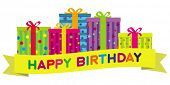 stock photo of happy birthday  - Colorful birthday gift boxes with a yellow banner wishing  - JPG