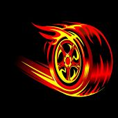 flaming vector wheel in black background. Speed and racing concept
