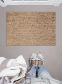 Blank Doormat Before The Door In The Hall. Mat On Gray Floor, Girl In White Shoes. Welcome Home, Pro poster