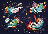 Cartoon Vector Illustration Of Space. Moon, Planet, Rocket, Earth, Cosmonaut, Comet Universe Classif poster