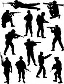 stock photo of snipe  - Soldiers silhouettes - JPG