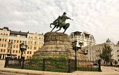 stock photo of hetman  - Monument to Ukrainian historical and political leader hetman B - JPG