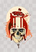stock photo of blood drive  - Racing design template with racer skull - JPG