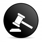 law black circle web glossy icon