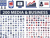 200 media, business, website, communication, design, internet icons, signs, symbols set, vector