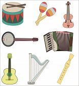 picture of banjo  - A set of colorful musical instruments - JPG