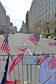 Boston - Apr 20: American Flags On Memorial Set Up On Boylston Street In Boston, Usa On April 20, 20