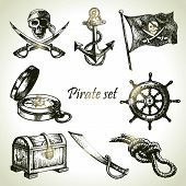 stock photo of pirate sword  - Pirates set - JPG