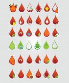 foto of hemoglobin  - colored creative blood medic drops sign set - JPG