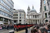 LONDON - UK, APRIL 17: Royal Guards arrive at St Paul's Cathedral, on April 17, 2013 in London.