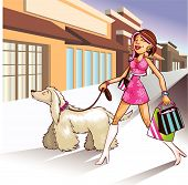stock photo of stripping women window  - Super Hip shopper walking her dog and shopping at the local strip mall. Store sign open to add text.  Enjoy - JPG