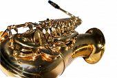 pic of saxy  - an golden shiny alto sax on white background - JPG