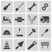 stock photo of dozer  - Vector black  construction icons set on white background - JPG