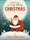 Santa Clause on the Hill - Christmas poster and greeting card with merry Santa Clause waving Christm