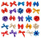 stock photo of bowing  - Big set of colorful gift bows with ribbons - JPG