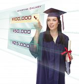 Attractive Young Mixed Race Female Graduate in Cap and Gown Choosing $100,000 Starting Salary Button