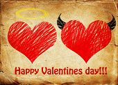 pic of good-vs-evil  - Valentines day background wih two hearts  - JPG