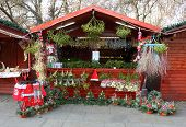 PILSEN CZECH REPUBLIC - DECEMBER 3: a market stall with mistletoe on  the Christmas market in the ci