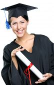 pic of school-leaver  - Graduating student in academic black gown and square cap with the certificate - JPG