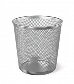 Постер, плакат: Empty metal trash garbage bin paper bin isolated on white background